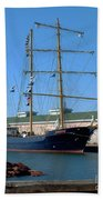 Tall Ship Waiting Beach Towel