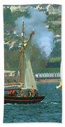 Tall Ships And Steam Trains Beach Sheet