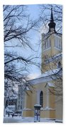 Tallin Church In Winter Beach Towel