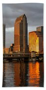 Tampa In Reflection Beach Towel