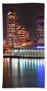 Tampa Skyline At Night Early Evening Beach Towel