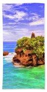 Tanah Lot Temple Bali Beach Towel