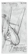 Tandem Biplane Patent Beach Towel
