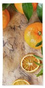 Tangerines With Leaves Beach Towel