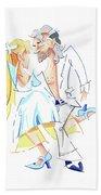 Tango Nuevo - Gancho Step - Dancing Illustration Beach Towel