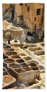 Tanneries Of Fes Morroco Beach Towel