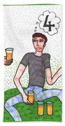 Tarot Of The Younger Self Four Of Cups Beach Towel