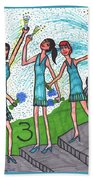 Tarot Of The Younger Self Three Of Cups Beach Towel