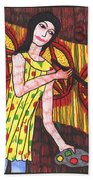 Tarot Of The Younger Self Three Of Pentacles Beach Towel