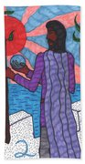 Tarot Of The Younger Self Two Of Wands Beach Towel
