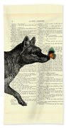 Tasmanian Tiger And Orange Butterfly Antique Illustration On Dictionary Page Beach Sheet