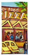 Tasty Food Pizza On Decarie Blvd Beach Towel