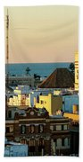 Tavira Tower And Post Office From West Tower Cadiz Spain Beach Towel