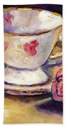 Tea Cup With Rose Still Life Grace Venditti Montreal Art Beach Towel
