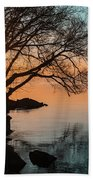 Teal And Orange Morning Tranquility With Rocks And Willows Beach Towel