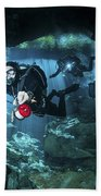 Technical Divers Enter The Cavern Beach Towel by Karen Doody