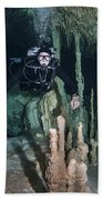 Technical Divers In Dreamgate Cave Beach Towel