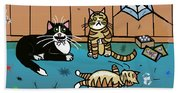 Cats Having Fun Playing With Spiders Beach Towel