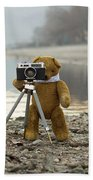 Teddy Bear Taking Pictures With An Old Camera By The Riverside Beach Towel