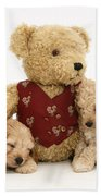 Teddy Bear With Puppies Beach Towel by Jane Burton