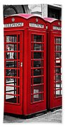 Telephone Boxes In London Beach Towel