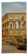 Temple Of Isis On The Nile River Beach Towel