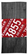 Tennessee State License Plate Map Beach Towel
