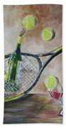 Tennis And Wine Beach Towel