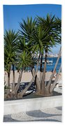 Terrace Promenade At Ribeira Beach In Cascais Beach Towel