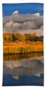 Teton Fall Foliage And Fog Beach Towel