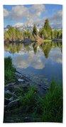 Teton Reflection In Schwabacher Landing Beach Towel