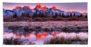 Teton Reflections In The Frosted Willows Beach Sheet
