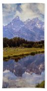 Tetons At The Landing 1 Beach Towel