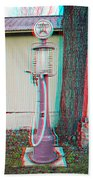 Texaco Gas Pump - Use Red-cyan 3d Glasses Beach Towel