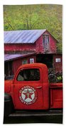 Texaco Truck On A Smoky Mountain Farm In Colorful Textures  Beach Towel