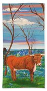 Texas Cow's Blulebonnet Field Beach Towel