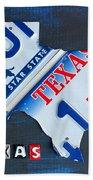 Texas License Plate Map Beach Towel