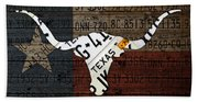 Texas Longhorn Recycled Vintage License Plate Art On Lone Star State Flag Wood Background Beach Towel