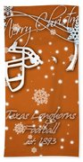 Texas Longhorns Christmas Card Beach Towel