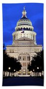 Texas State Capitol Floodlit At Night, Austin, Texas - Stock Image Beach Towel