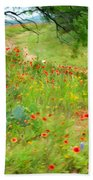 Texas Wildflowers And Cactus - Country Road Beach Towel