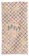 Text Art So Happy - Orange Beach Towel