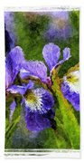Textured Bearded Irises Beach Towel