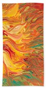 Textured Fire Sunflower Beach Towel