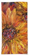 Textured Gold And Red Sunflowers Beach Towel