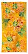 Textured Yellow Sunflowers Beach Towel