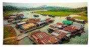 Thai Floating Village Beach Towel