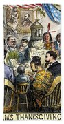 Thanksgiving Cartoon, 1869 Beach Towel
