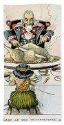 Thanksgiving Cartoon, 1898 Beach Towel