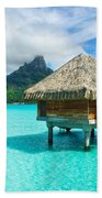 Thatched Roof Honeymoon Bungalow On Bora Bora Beach Towel